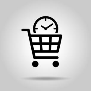 時計と買い物かご 時間を買って効率化を図るアイコンのイラスト素材 [FYI04781329]
