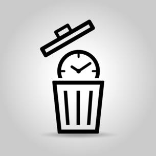 時計とゴミ箱 タイムロスのアイコンのイラスト素材 [FYI04781330]