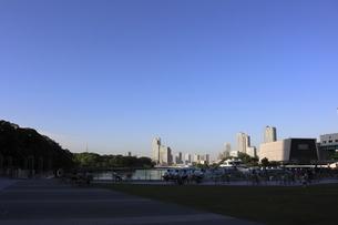 ウォーターフロントの公園から見えるスカイツリー方面の夕景の写真素材 [FYI04781953]