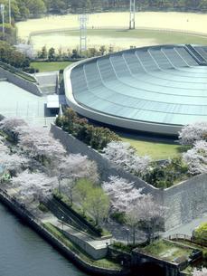 大阪城ホールと桜の写真素材 [FYI04782285]