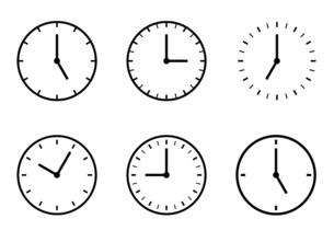 時計アイコンの時間バリエーションセットのイラスト素材 [FYI04782317]