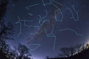 大台ヶ原より眺める初冬の天の川と星座線(合成)の写真素材 [FYI04782351]