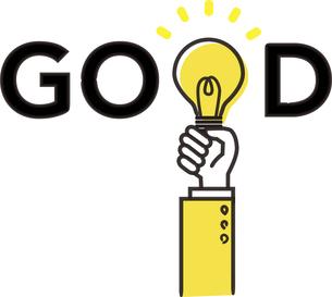 GOODの文字と電球のイラスト、黄色と黒のイラストのイラスト素材 [FYI04782360]