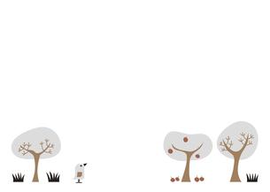 鳥と木 フレーム イラストのイラスト素材 [FYI04782607]