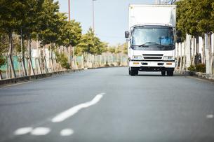 並木道を走る白いトラックの写真素材 [FYI04782635]