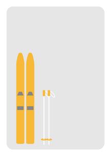 黄色いスキーとストックのイラスト素材 [FYI04782660]