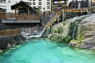 草津温泉の湯畑の写真素材 [FYI04782686]