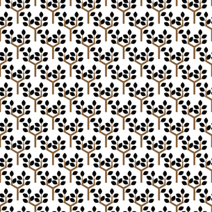 黒い葉 樹木 パターン イラストのイラスト素材 [FYI04782879]