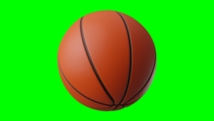 Basketball ball on green chroma key. 3d illustration for background.のイラスト素材 [FYI04783561]