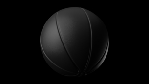Black basketball ball on black background. 3d illustration.のイラスト素材 [FYI04783563]