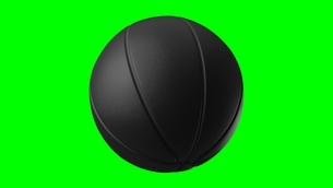 Black basketball ball on green chroma key. 3d illustration.のイラスト素材 [FYI04783564]