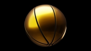 Gold basketball ball on black background. 3d illustration.のイラスト素材 [FYI04783565]