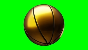 Gold basketball ball on green chroma key. 3d illustration.のイラスト素材 [FYI04783566]