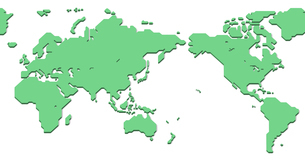 World Map (Simplified outline world map, Asia in Center, 3D Illustration)のイラスト素材 [FYI04783579]