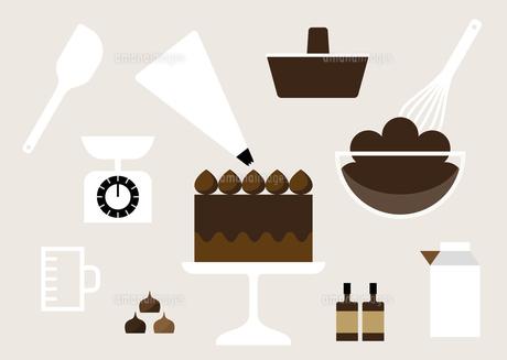チョコレートケーキ作り イラストのイラスト素材 [FYI04783653]