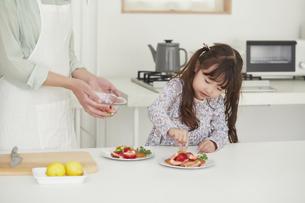 キッチンに立ち料理を作る母親と手伝う女の子の写真素材 [FYI04784331]