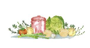 寸胴鍋と野菜の水彩画のイラスト素材 [FYI04784392]