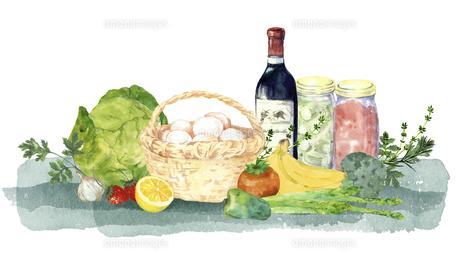 ワインと食材の水彩画のイラスト素材 [FYI04784394]