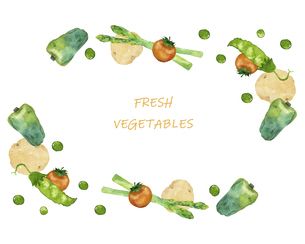野菜のフレーム 水彩イラストのイラスト素材 [FYI04784860]