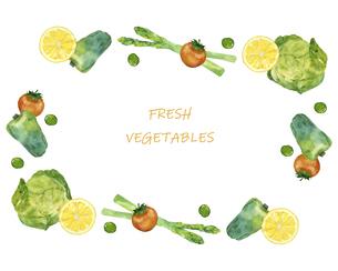 野菜のフレーム 水彩イラストのイラスト素材 [FYI04784862]