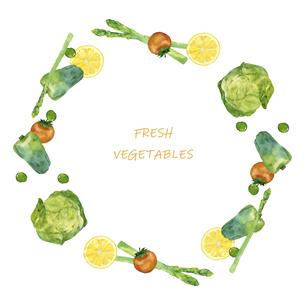 野菜のフレーム 水彩イラストのイラスト素材 [FYI04784863]