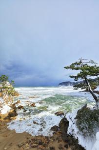 冬の山陰海岸 浦富海岸雪景色の写真素材 [FYI04784986]