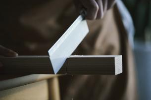 木材をノコギリで切る男性の写真素材 [FYI04785120]