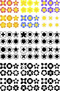 色々な形の花の可愛いアイコンのイラスト素材 [FYI04785245]