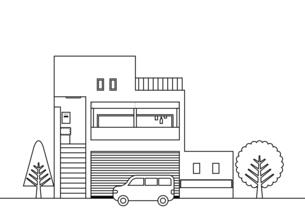 家 階段 大きな窓 アウトライン イラストのイラスト素材 [FYI04785597]