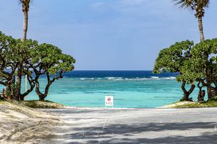 ブセナ海中公園のビーチと遊泳禁止看板の写真素材 [FYI04785662]