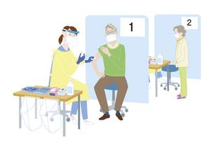 集団予防接種会場で、新型コロナウイルス感染症のワクチン接種を受けるシニア男性のイラスト素材 [FYI04785683]