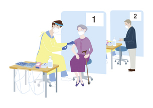 集団予防接種会場で、新型コロナウイルス感染症のワクチン接種を受けるシニア女性のイラスト素材 [FYI04785684]