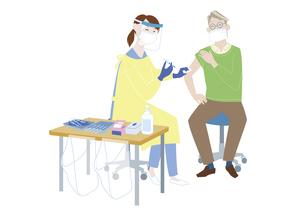 予防接種会場で、新型コロナウイルス感染症のワクチン接種を受けるシニア男性のイラスト素材 [FYI04785685]