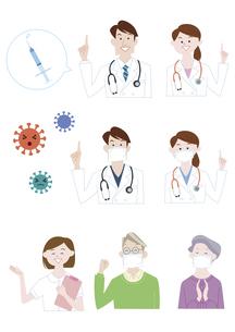 男性医師、女性医師、看護師、シニア男性、シニア女性 新型コロナウイルス感染症 指さし 説明 イラスト素材のイラスト素材 [FYI04785689]