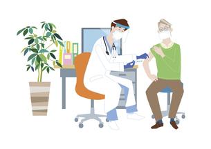 予防接種会場で、新型コロナウイルス感染症のワクチン接種を受けるシニア男性のイラスト素材 [FYI04785692]