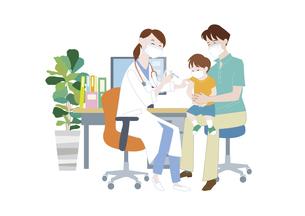 病院でマスクをした女医から予防接種を受けるマスクをした男の子と父親のイラスト素材 [FYI04785695]