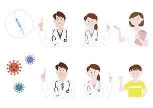 男性医師、女性医師、看護師、男の子 予防接種 指さし 説明 イラスト素材のイラスト素材 [FYI04785700]
