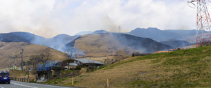 阿蘇俵山野焼き風景2020年3月15日の写真素材 [FYI04785919]