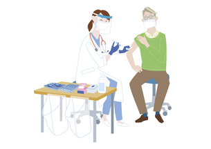 予防接種会場で、新型コロナウイルス感染症のワクチン接種を受けるシニア男性のイラスト素材 [FYI04786555]