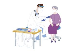 予防接種会場で、新型コロナウイルス感染症のワクチン接種を受けるシニア女性のイラスト素材 [FYI04786556]