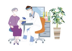 予防接種会場で、新型コロナウイルス感染症のワクチン接種を受けるシニア女性のイラスト素材 [FYI04786559]