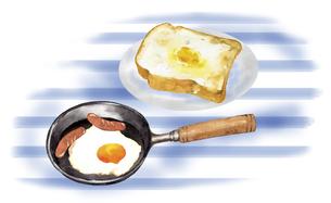 フライパンの中の目玉焼きとトーストのイラスト素材 [FYI04786616]
