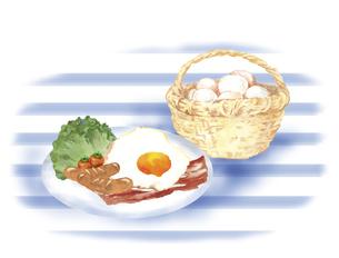 かごに入った卵とベーコンエッグのイラスト素材 [FYI04786619]
