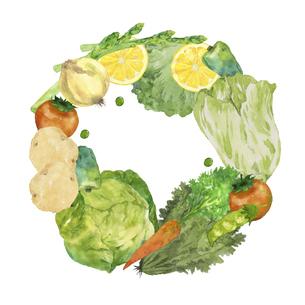 野菜の円形フレーム 水彩イラストのイラスト素材 [FYI04786620]