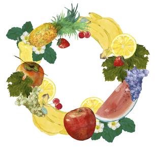 果物の円形フレーム 水彩イラストのイラスト素材 [FYI04786622]