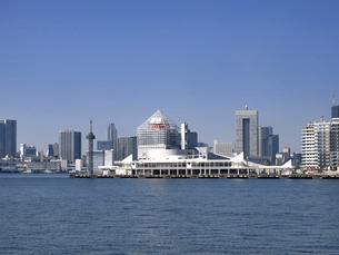 東京都 晴海客船ターミナルと高層マンション街の写真素材 [FYI04786642]