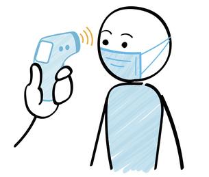 検温する人物と検温機 感染症対策のイラスト素材 [FYI04786924]