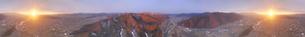 千曲公園から望む千曲川と上田市街と朝日の450度パノラマの写真素材 [FYI04787177]