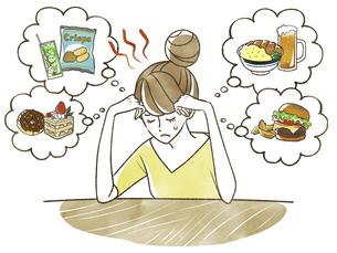 食欲を我慢する女性-ダイエットのイラスト素材 [FYI04787348]
