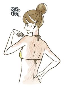 背中の日焼けに悩んでいる女性のイラスト素材 [FYI04787517]